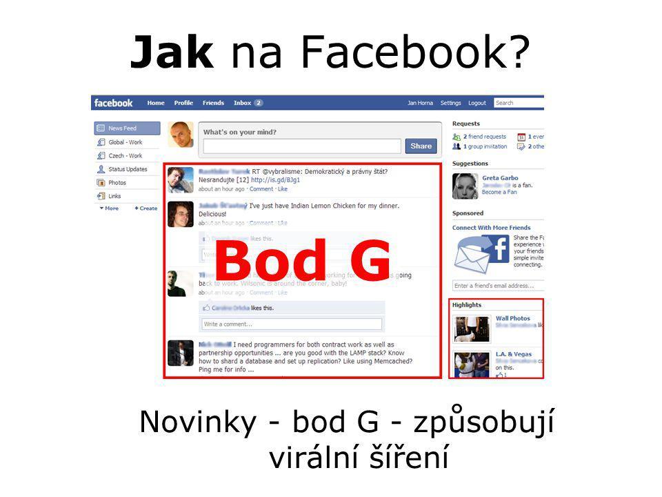 Jak na Facebook? Novinky - bod G - způsobují virální šíření Bod G