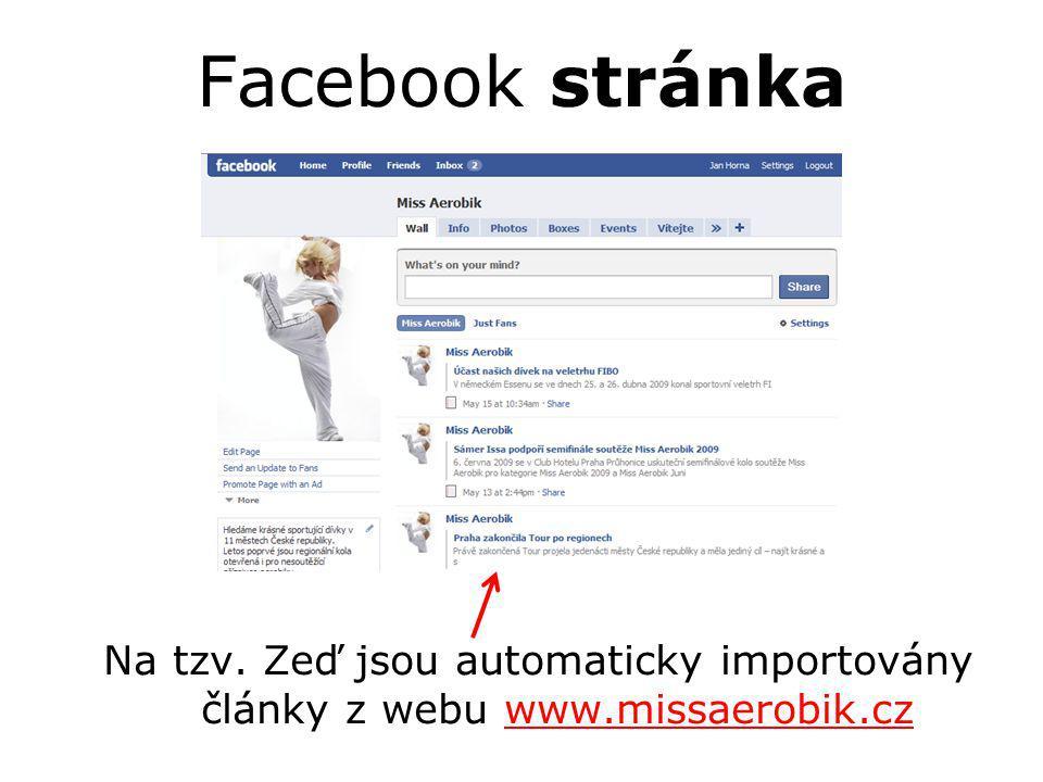 Facebook stránka Na tzv. Zeď jsou automaticky importovány články z webu www.missaerobik.czwww.missaerobik.cz