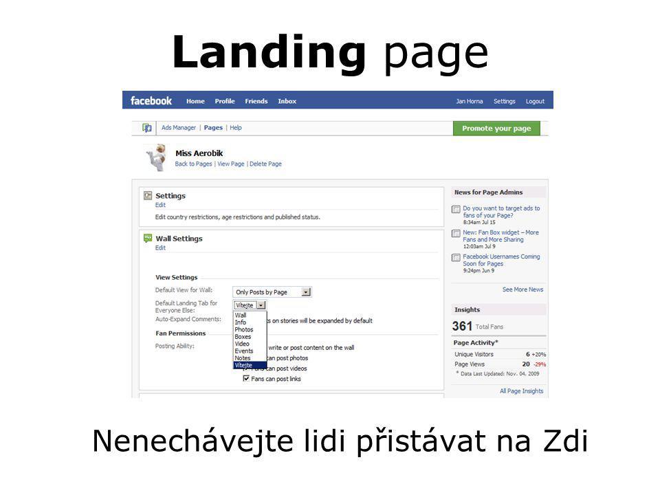 Landing page Nenechávejte lidi přistávat na Zdi