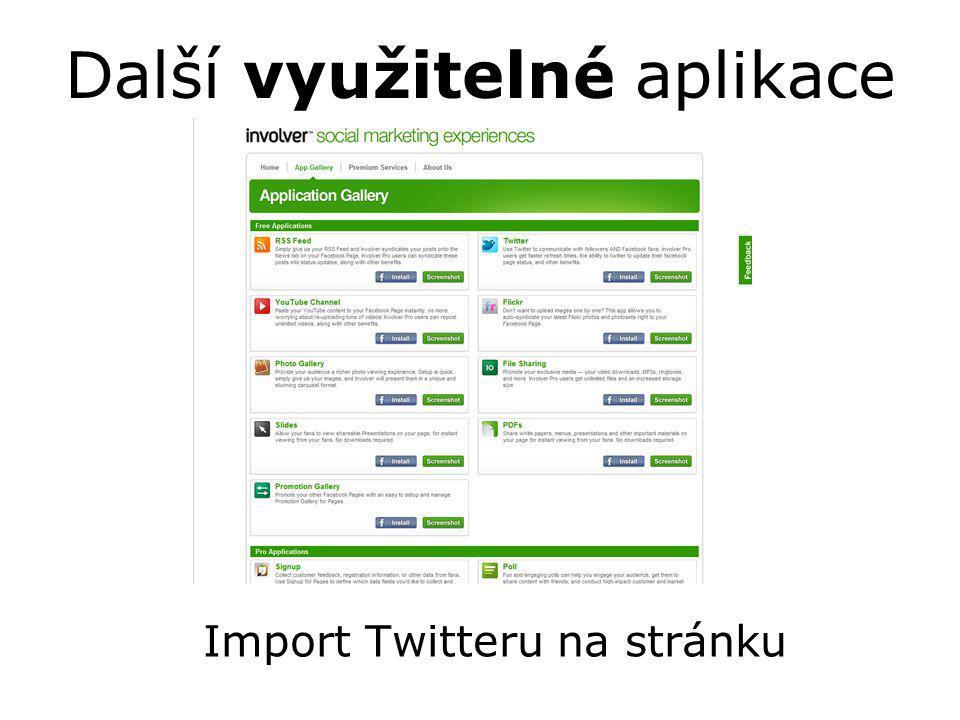 Další využitelné aplikace Import Twitteru na stránku