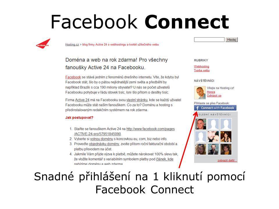 Facebook Connect Snadné přihlášení na 1 kliknutí pomocí Facebook Connect