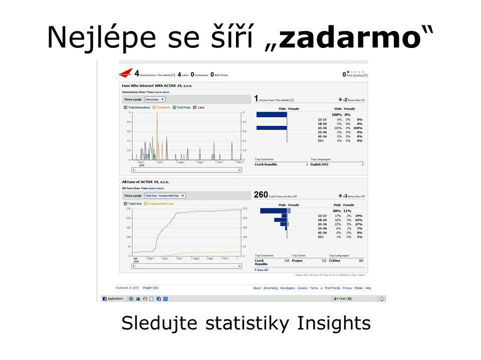 """Nejlépe se šíří """"zadarmo Sledujte statistiky Insights"""