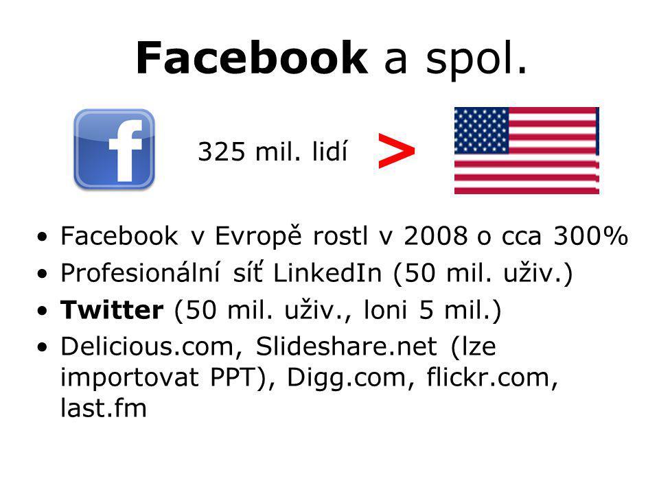 Facebook a spol. Facebook v Evropě rostl v 2008 o cca 300% Profesionální síť LinkedIn (50 mil. uživ.) Twitter (50 mil. uživ., loni 5 mil.) Delicious.c