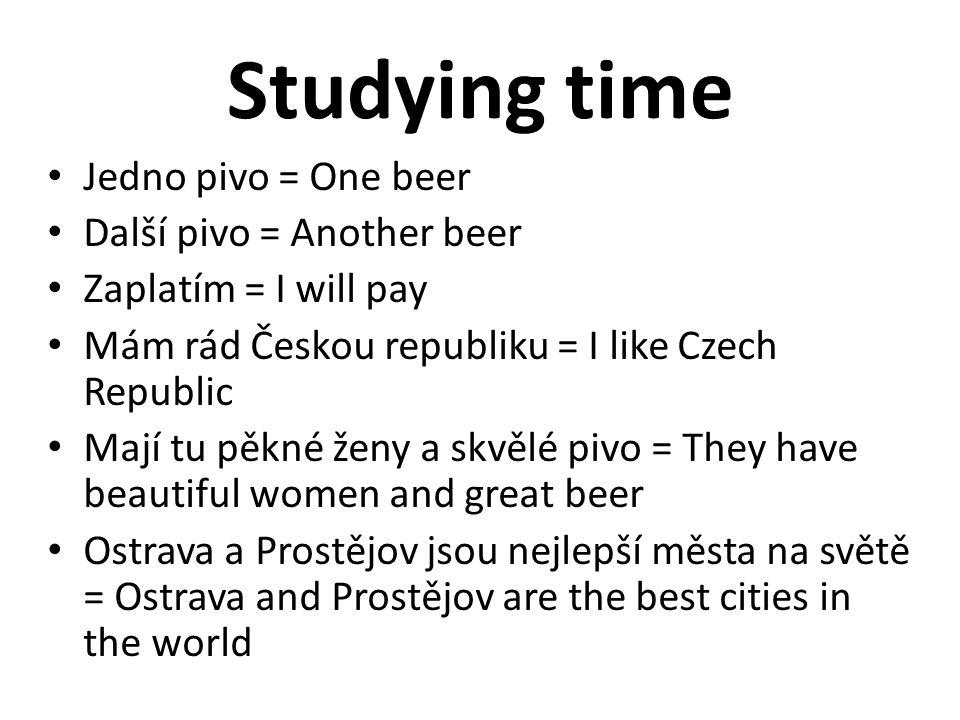 Studying time Jedno pivo = One beer Další pivo = Another beer Zaplatím = I will pay Mám rád Českou republiku = I like Czech Republic Mají tu pěkné žen