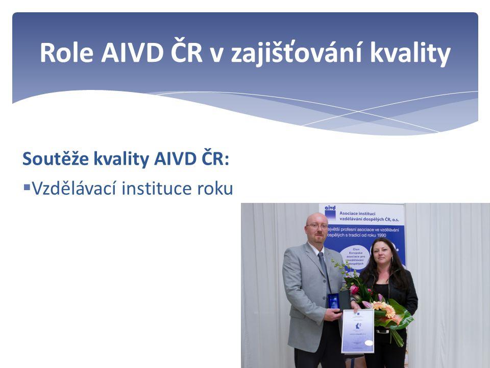 Soutěže kvality AIVD ČR:  Vzdělávací instituce roku Role AIVD ČR v zajišťování kvality
