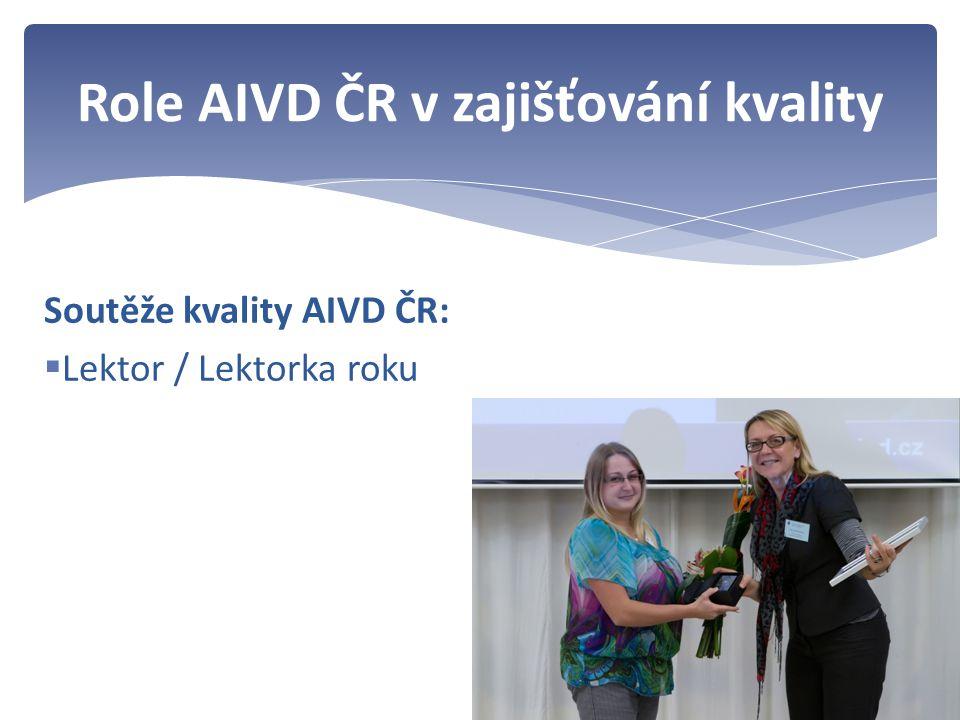 Soutěže kvality AIVD ČR:  Lektor / Lektorka roku Role AIVD ČR v zajišťování kvality