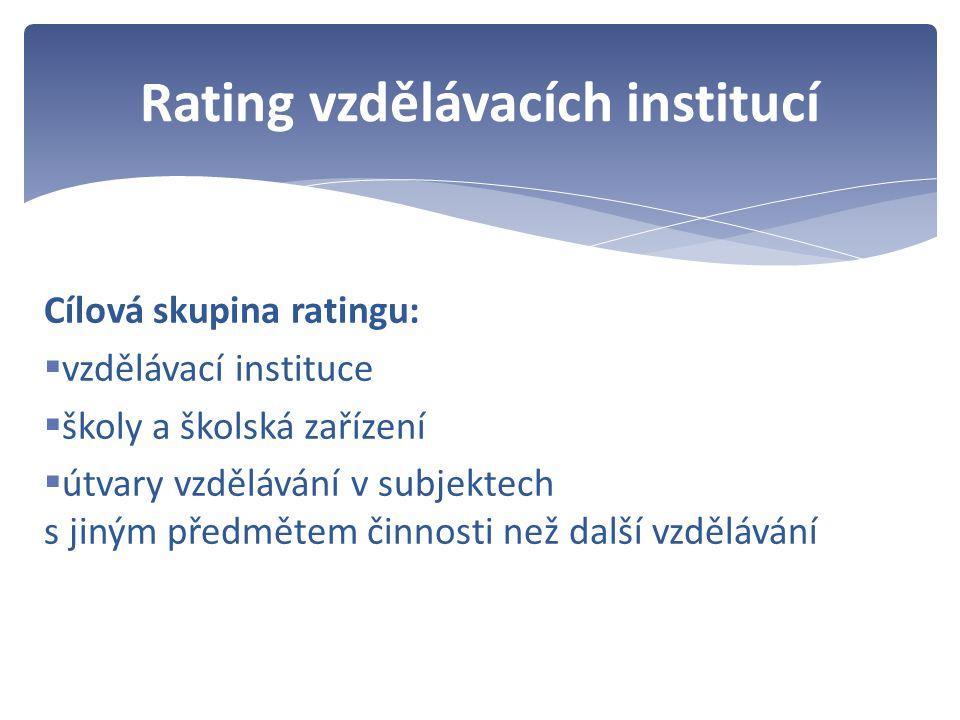 Cílová skupina ratingu:  vzdělávací instituce  školy a školská zařízení  útvary vzdělávání v subjektech s jiným předmětem činnosti než další vzdělávání Rating vzdělávacích institucí