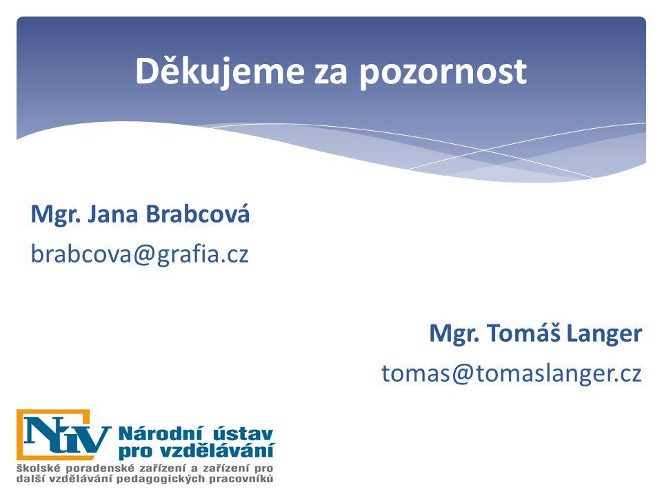 Mgr. Jana Brabcová brabcova@grafia.cz Mgr. Tomáš Langer tomas@tomaslanger.cz Děkujeme za pozornost