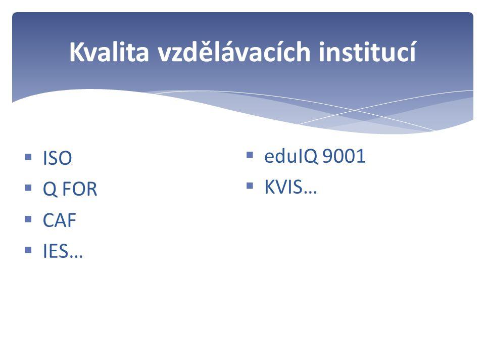  ISO  Q FOR  CAF  IES… Kvalita vzdělávacích institucí  eduIQ 9001  KVIS…