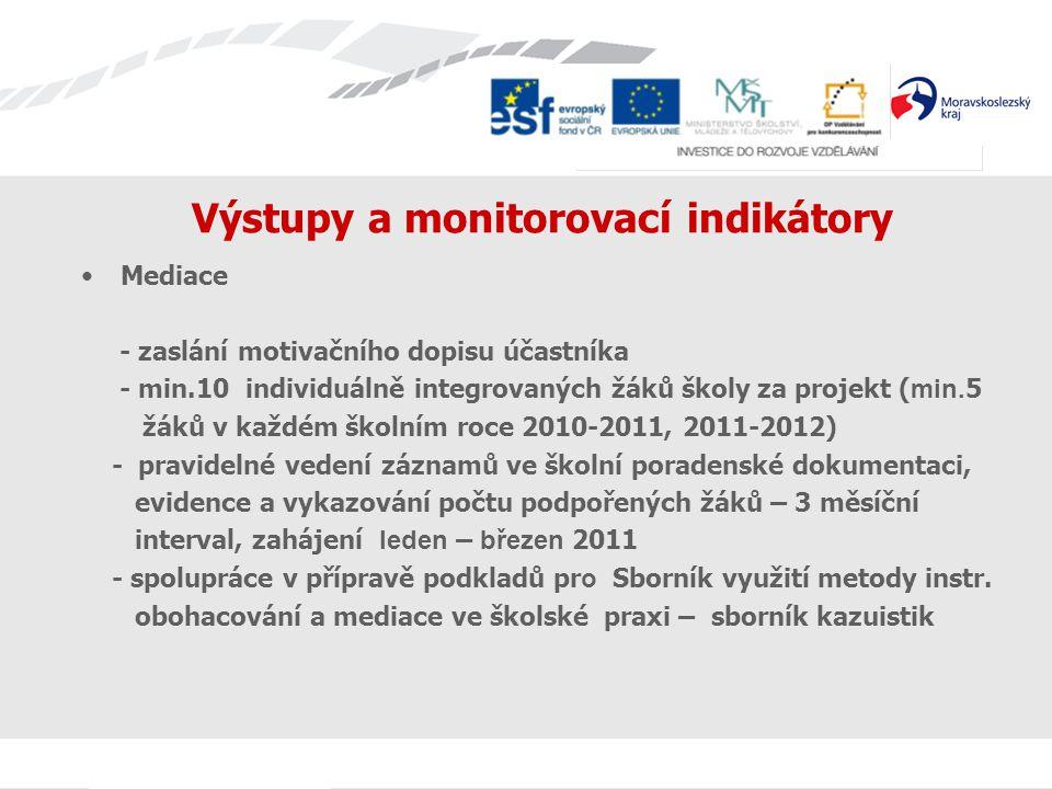 Výstupy a monitorovací indikátory Mediace - zaslání motivačního dopisu účastníka - min.10 individuálně integrovaných žáků školy za projekt ( min. 5 žá