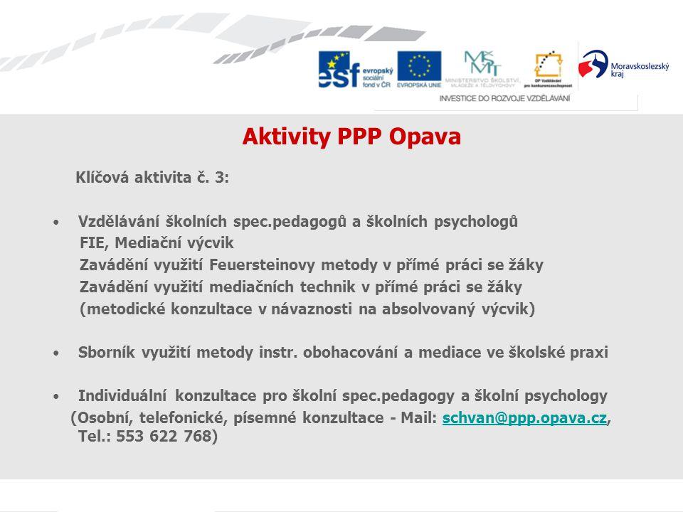 Aktivity PPP Opava Klíčová aktivita č. 3: Vzdělávání školních spec.pedagogů a školních psychologů FIE, Mediační výcvik Zavádění využití Feuersteinovy