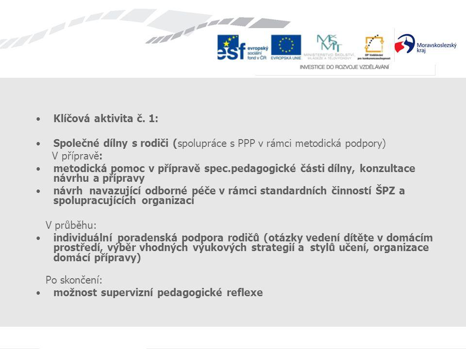 Klíčová aktivita č. 1: Společné dílny s rodiči (spolupráce s PPP v rámci metodická podpory) V přípravě: metodická pomoc v přípravě spec.pedagogické čá