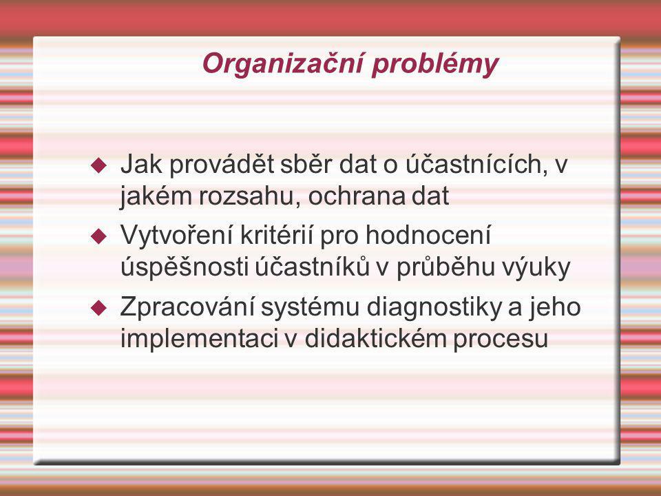 Organizační problémy  Jak provádět sběr dat o účastnících, v jakém rozsahu, ochrana dat  Vytvoření kritérií pro hodnocení úspěšnosti účastníků v prů