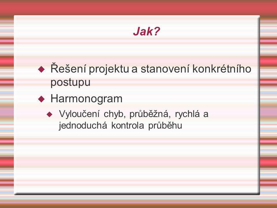 Jak?  Řešení projektu a stanovení konkrétního postupu  Harmonogram  Vyloučení chyb, průběžná, rychlá a jednoduchá kontrola průběhu