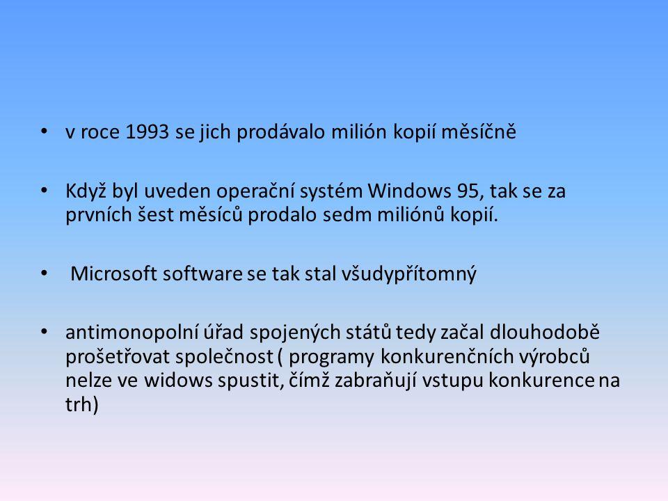 v roce 1993 se jich prodávalo milión kopií měsíčně Když byl uveden operační systém Windows 95, tak se za prvních šest měsíců prodalo sedm miliónů kopi