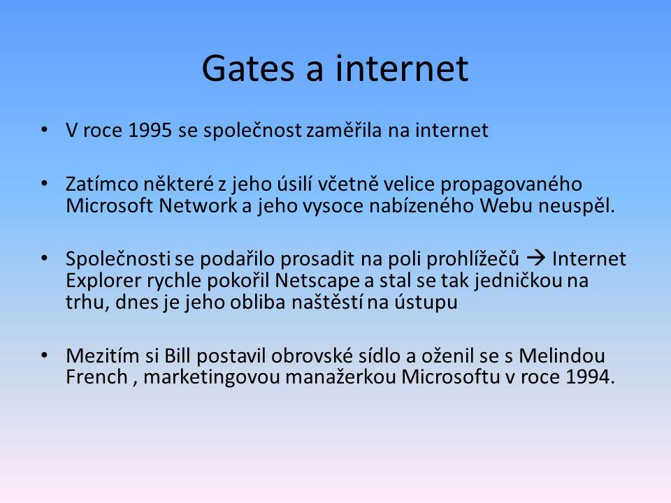 Gates a internet V roce 1995 se společnost zaměřila na internet Zatímco některé z jeho úsilí včetně velice propagovaného Microsoft Network a jeho vyso