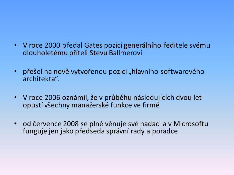 """V roce 2000 předal Gates pozici generálního ředitele svému dlouholetému příteli Stevu Ballmerovi přešel na nově vytvořenou pozici """"hlavního softwarové"""