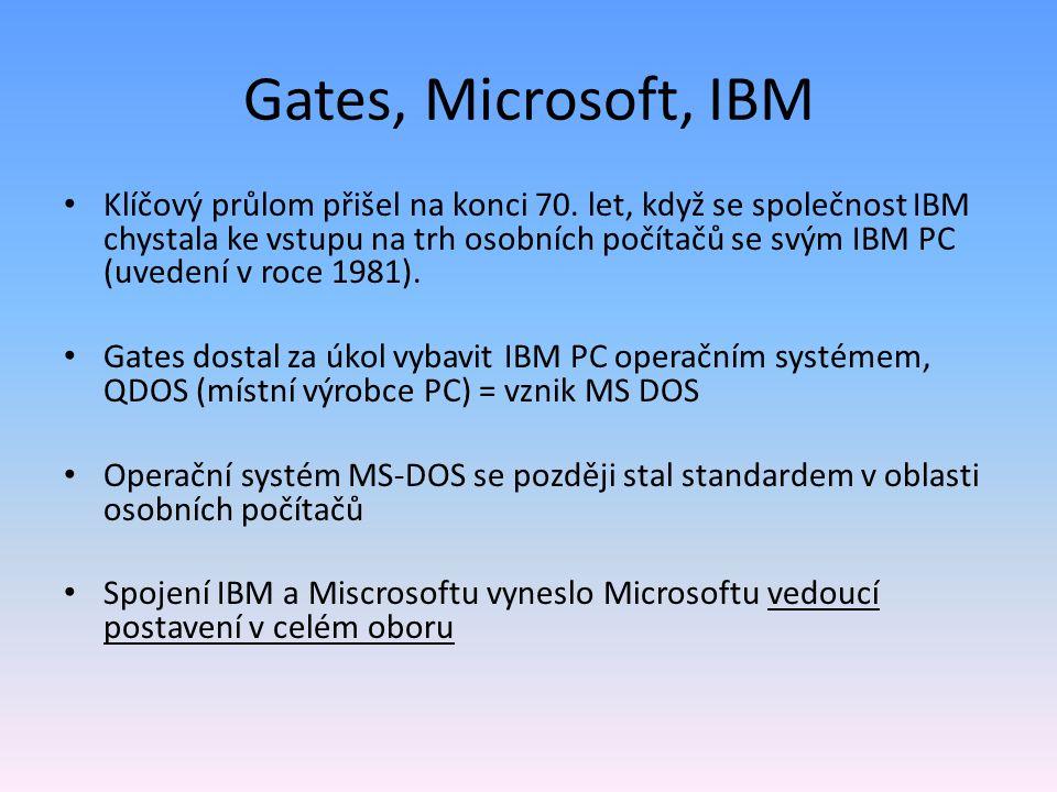 Gates, Microsoft, IBM Klíčový průlom přišel na konci 70. let, když se společnost IBM chystala ke vstupu na trh osobních počítačů se svým IBM PC (uvede