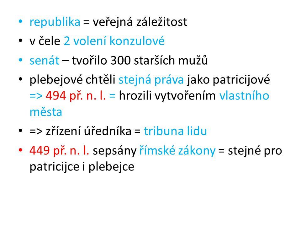 republika = veřejná záležitost v čele 2 volení konzulové senát – tvořilo 300 starších mužů plebejové chtěli stejná práva jako patricijové => 494 př. n