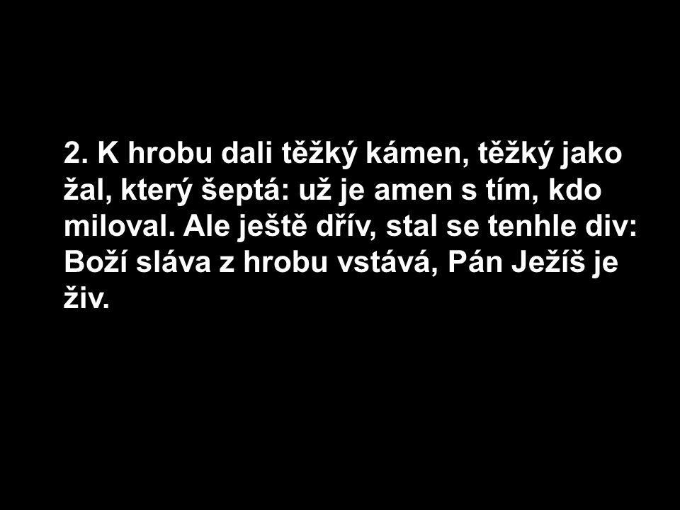 2. K hrobu dali těžký kámen, těžký jako žal, který šeptá: už je amen s tím, kdo miloval.