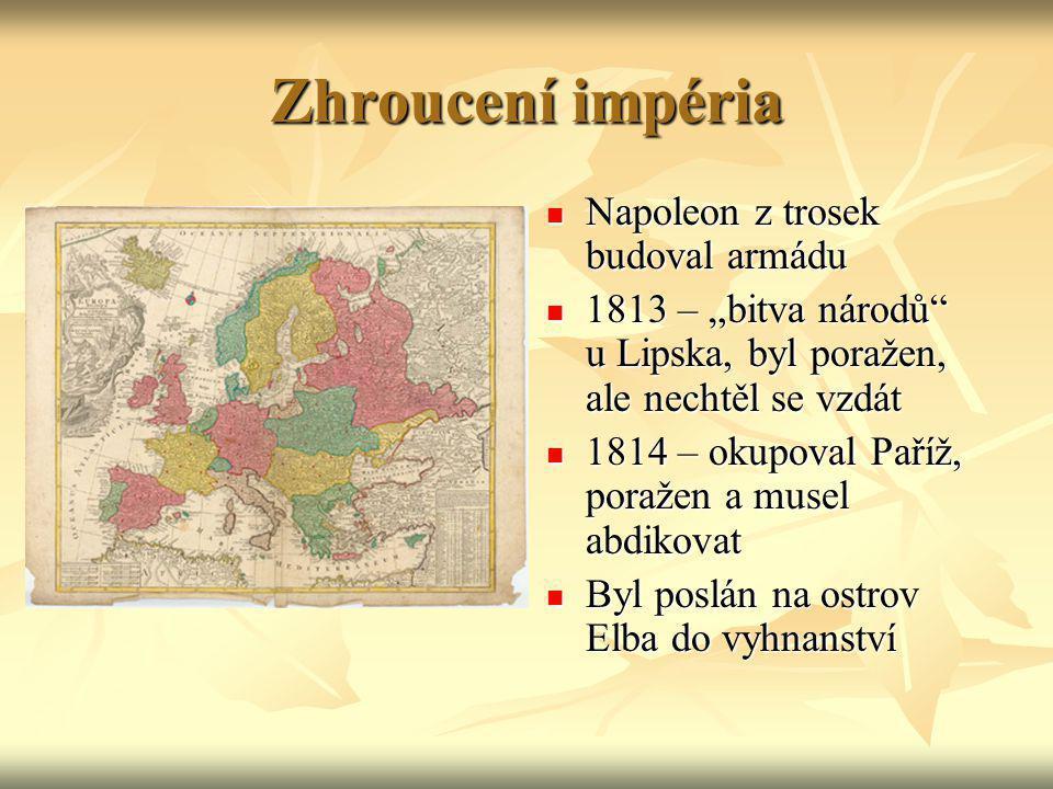 """Zhroucení impéria Napoleon z trosek budoval armádu Napoleon z trosek budoval armádu 1813 – """"bitva národů"""" u Lipska, byl poražen, ale nechtěl se vzdát"""