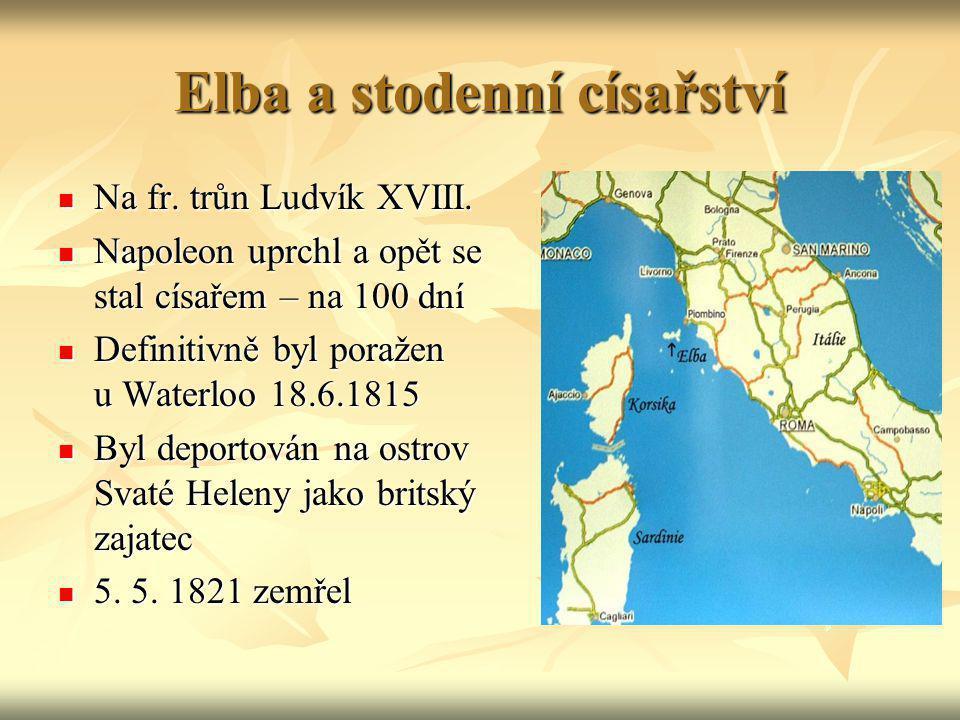 Elba a stodenní císařství Na fr. trůn Ludvík XVIII. Na fr. trůn Ludvík XVIII. Napoleon uprchl a opět se stal císařem – na 100 dní Napoleon uprchl a op