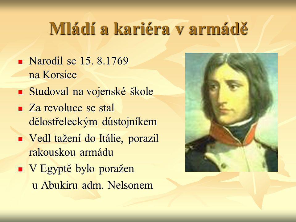 Mládí a kariéra v armádě Narodil se 15. 8.1769 na Korsice Narodil se 15. 8.1769 na Korsice Studoval na vojenské škole Studoval na vojenské škole Za re