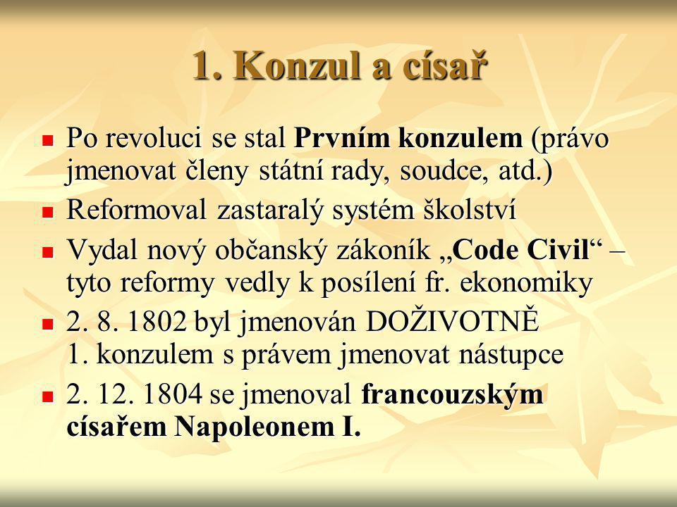 1. Konzul a císař Po revoluci se stal Prvním konzulem (právo jmenovat členy státní rady, soudce, atd.) Po revoluci se stal Prvním konzulem (právo jmen