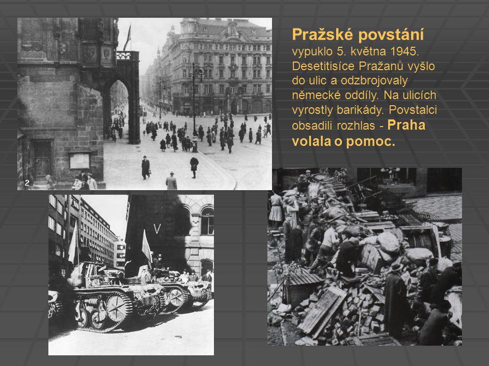 Pražské povstání vypuklo 5. května 1945. Desetitisíce Pražanů vyšlo do ulic a odzbrojovaly německé oddíly. Na ulicích vyrostly barikády. Povstalci obs