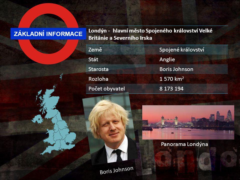 ZÁKLADNÍ INFORMACE Londýn - hlavní město Spojeného království Velké Británie a Severního Irska ZeměSpojené království StátAnglie StarostaBoris Johnson