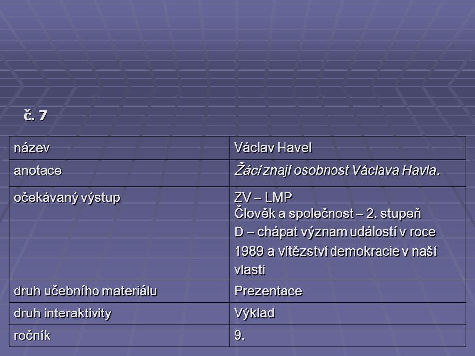č. 7 název Václav Havel anotace Žáci znají osobnost Václava Havla. očekávaný výstup ZV – LMP Člověk a společnost – 2. stupeň D – chápat význam událost