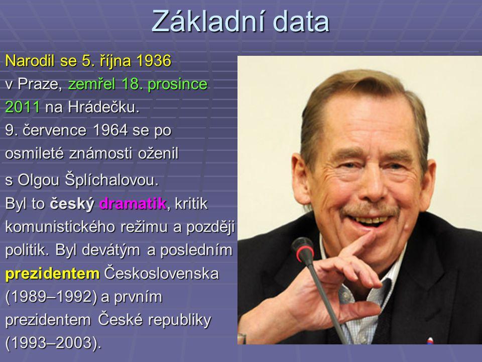 Základní data Narodil se 5. října 1936 v Praze, zemřel 18. prosince 2011 na Hrádečku. 9. července 1964 se po osmileté známosti oženil s Olgou Šplíchal