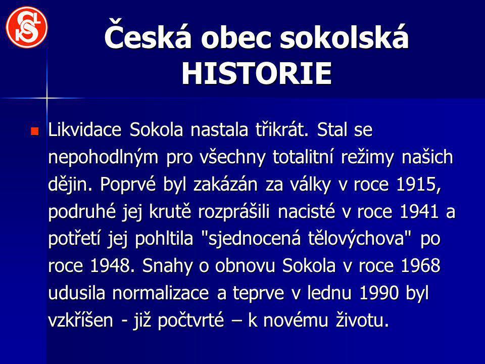 Česká obec sokolská HISTORIE Likvidace Sokola nastala třikrát. Stal se nepohodlným pro všechny totalitní režimy našich dějin. Poprvé byl zakázán za vá