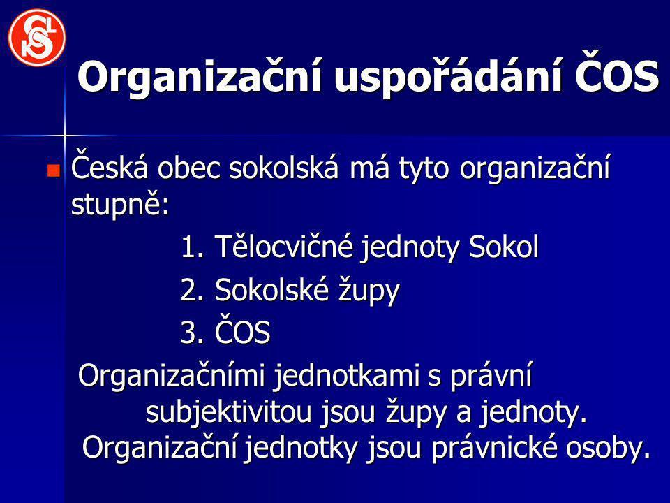 Organizační uspořádání ČOS Česká obec sokolská má tyto organizační stupně: Česká obec sokolská má tyto organizační stupně: 1. Tělocvičné jednoty Sokol