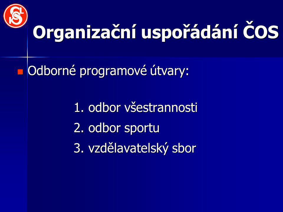 Organizační uspořádání ČOS Odborné programové útvary: Odborné programové útvary: 1. odbor všestrannosti 2. odbor sportu 3. vzdělavatelský sbor