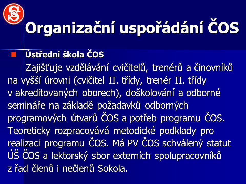 Organizační uspořádání ČOS Ústřední škola ČOS Ústřední škola ČOS Zajišťuje vzdělávání cvičitelů, trenérů a činovníků na vyšší úrovni (cvičitel II.