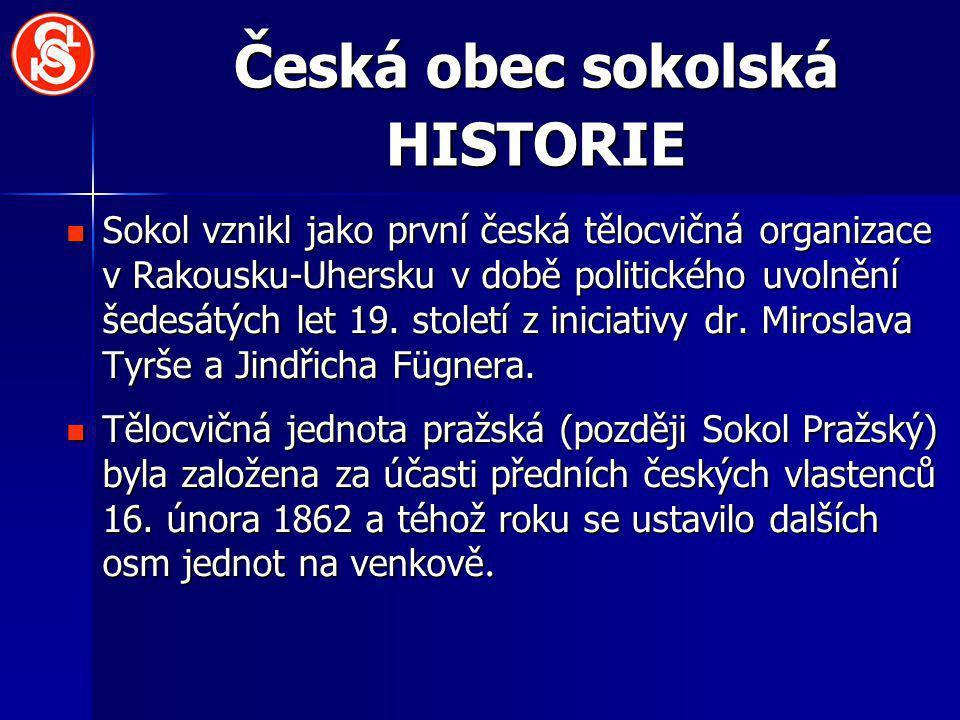 Česká obec sokolská HISTORIE Sokol vznikl jako první česká tělocvičná organizace v Rakousku-Uhersku v době politického uvolnění šedesátých let 19. sto