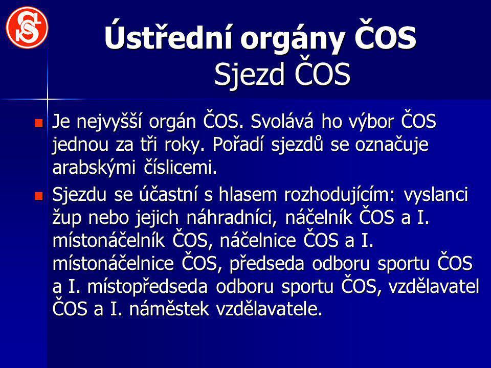 Ústřední orgány ČOS Sjezd ČOS Je nejvyšší orgán ČOS.