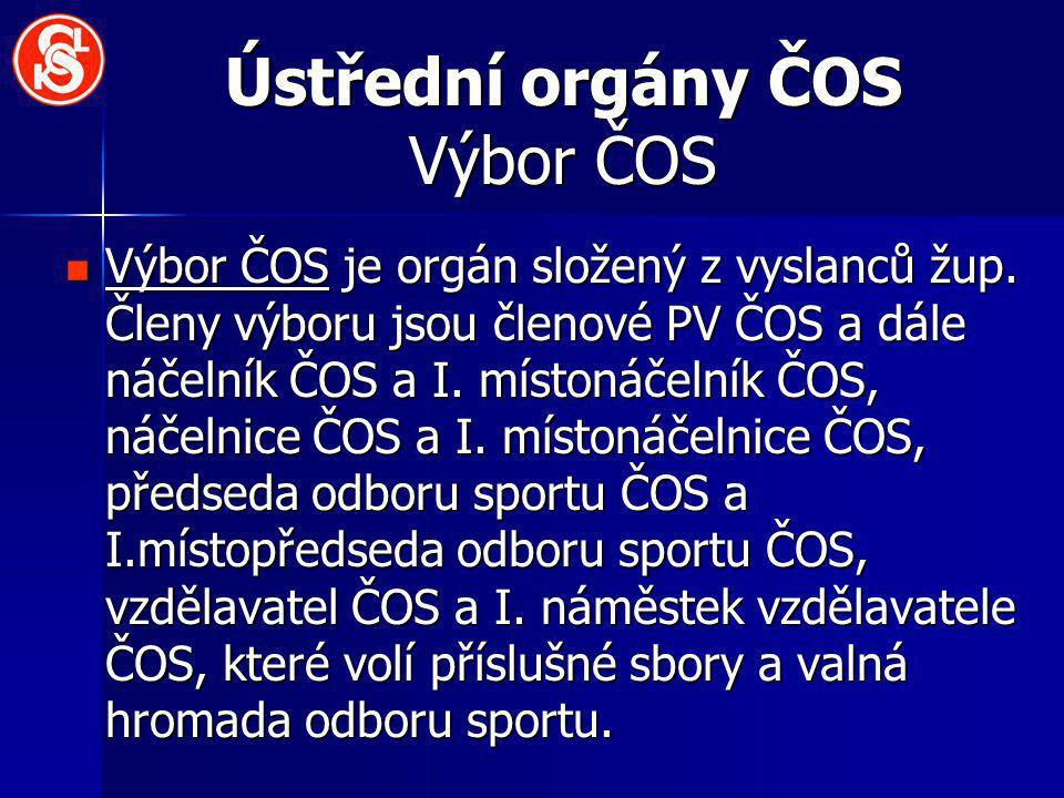 Ústřední orgány ČOS Výbor ČOS Výbor ČOS je orgán složený z vyslanců žup.