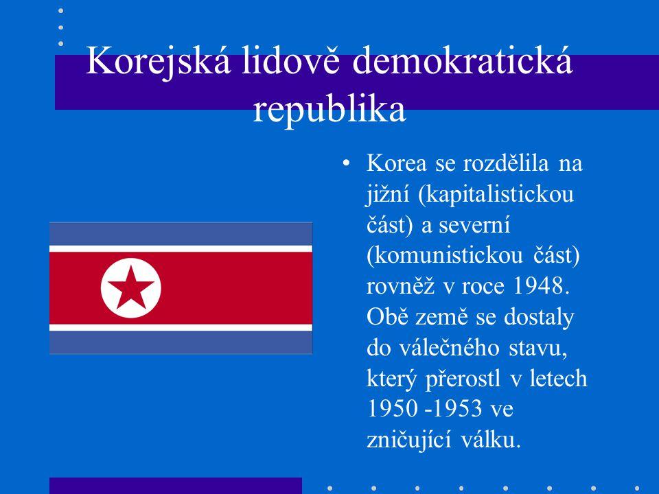 Korejská lidově demokratická republika Korea se rozdělila na jižní (kapitalistickou část) a severní (komunistickou část) rovněž v roce 1948.