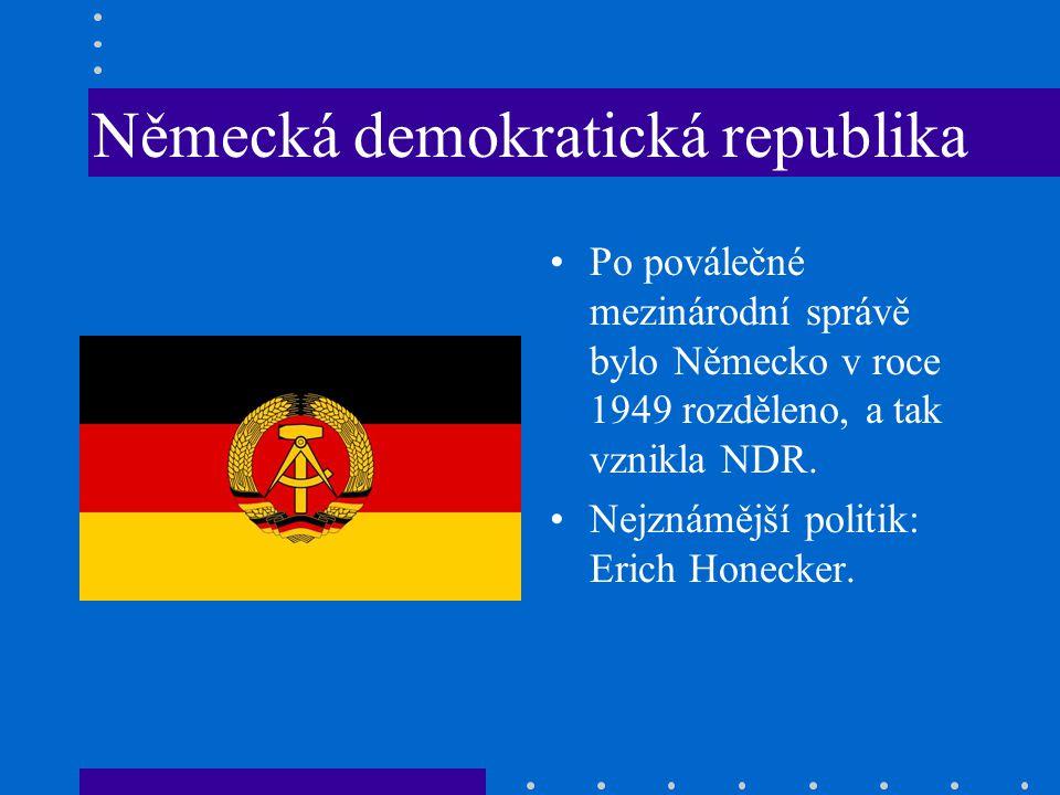 Německá demokratická republika Po poválečné mezinárodní správě bylo Německo v roce 1949 rozděleno, a tak vznikla NDR.