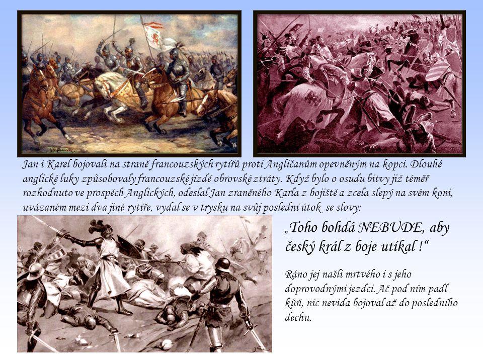 Jan i Karel bojovali na straně francouzských rytířů proti Angličanům opevněným na kopci. Dlouhé anglické luky způsobovaly francouzské jízdě obrovské z