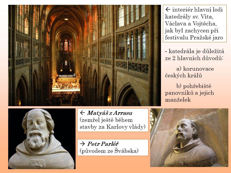  interiér hlavní lodi katedrály sv. Víta, Václava a Vojtěcha, jak byl zachycen při festivalu Pražské jaro - k- katedrála je důležitá ze 2 hlavních dů