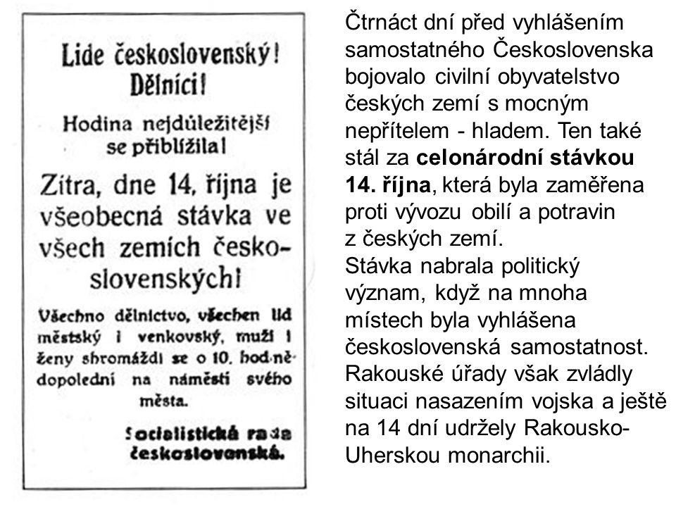 Čtrnáct dní před vyhlášením samostatného Československa bojovalo civilní obyvatelstvo českých zemí s mocným nepřítelem - hladem.