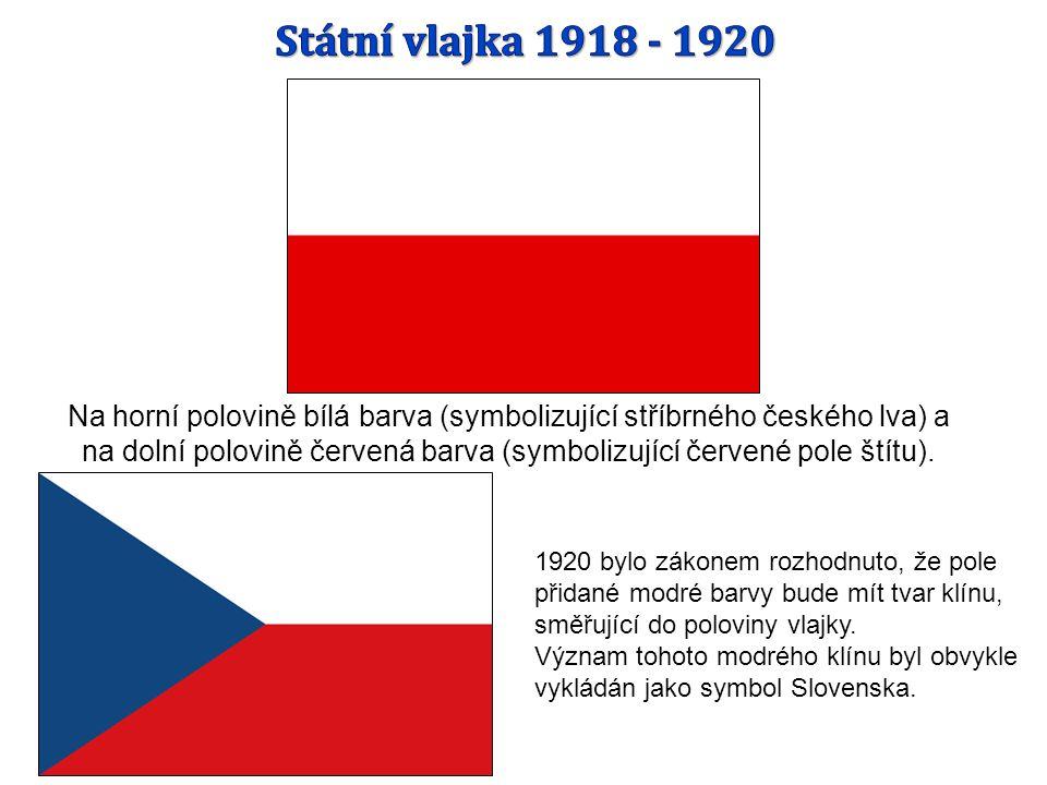 Na horní polovině bílá barva (symbolizující stříbrného českého lva) a na dolní polovině červená barva (symbolizující červené pole štítu).
