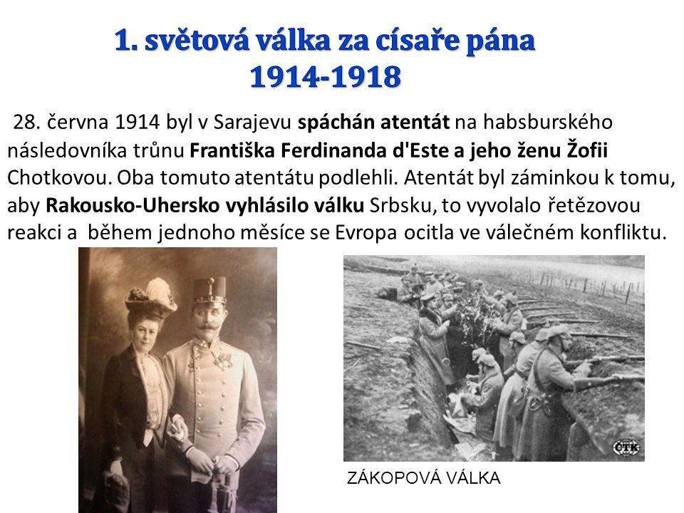 28. června 1914 byl v Sarajevu spáchán atentát na habsburského následovníka trůnu Františka Ferdinanda d'Este a jeho ženu Žofii Chotkovou. Oba tomuto