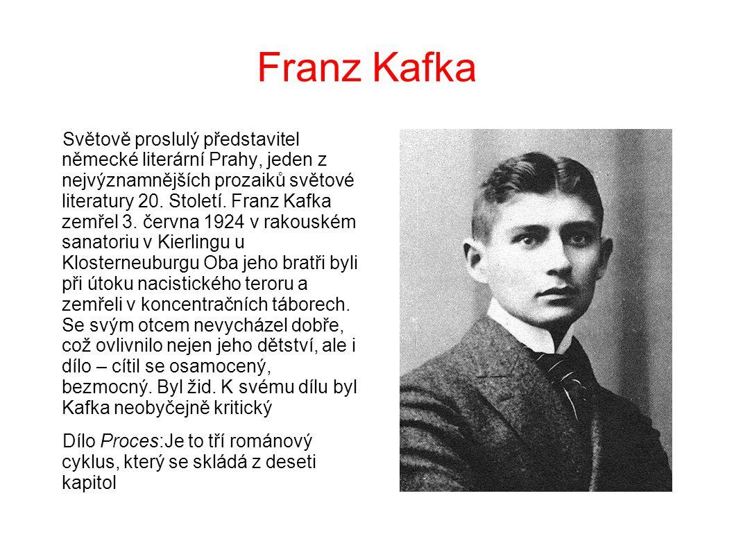 Franz Kafka Světově proslulý představitel německé literární Prahy, jeden z nejvýznamnějších prozaiků světové literatury 20.