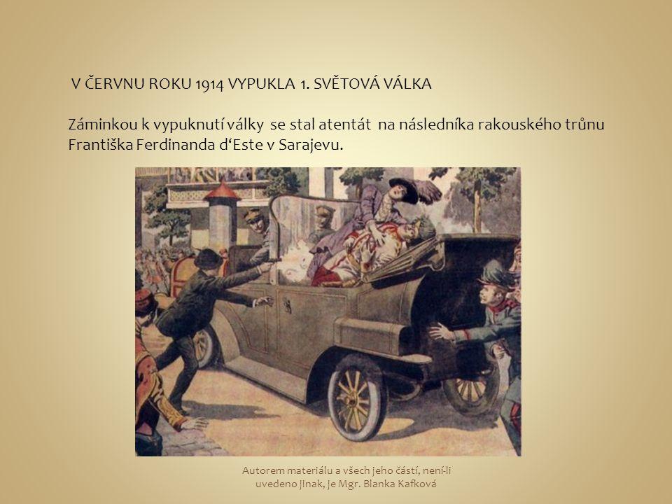 V ČERVNU ROKU 1914 VYPUKLA 1. SVĚTOVÁ VÁLKA Záminkou k vypuknutí války se stal atentát na následníka rakouského trůnu Františka Ferdinanda d'Este v Sa