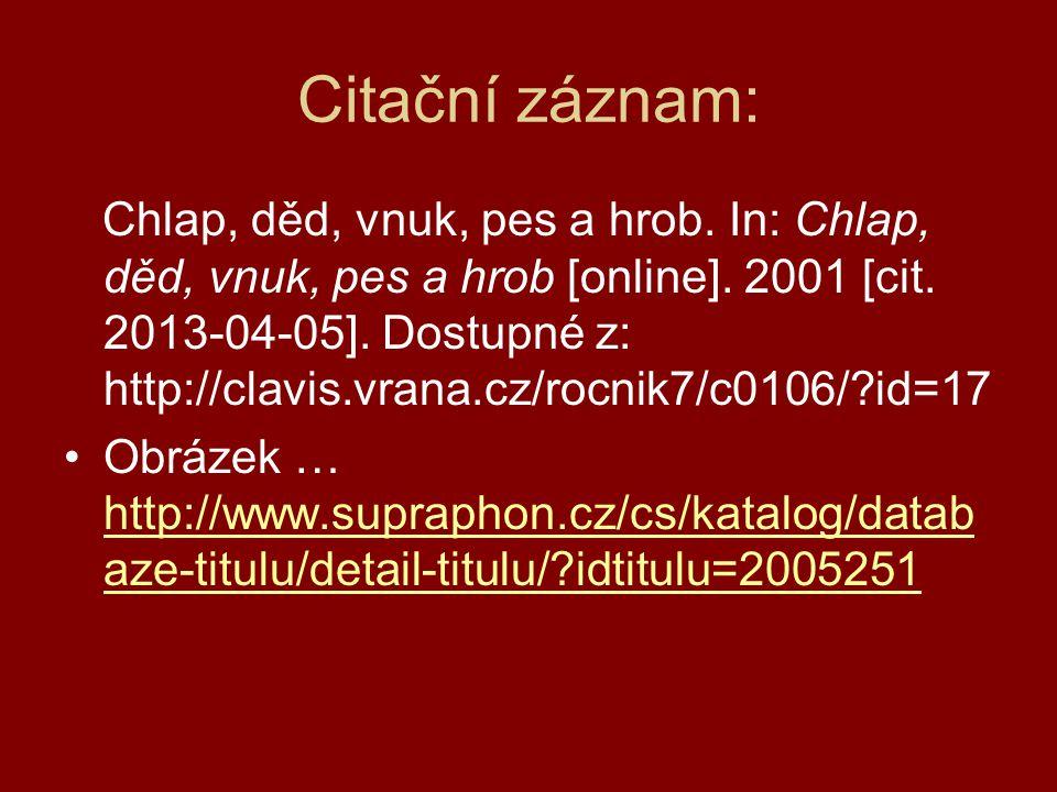 Citační záznam: Chlap, děd, vnuk, pes a hrob. In: Chlap, děd, vnuk, pes a hrob [online]. 2001 [cit. 2013-04-05]. Dostupné z: http://clavis.vrana.cz/ro