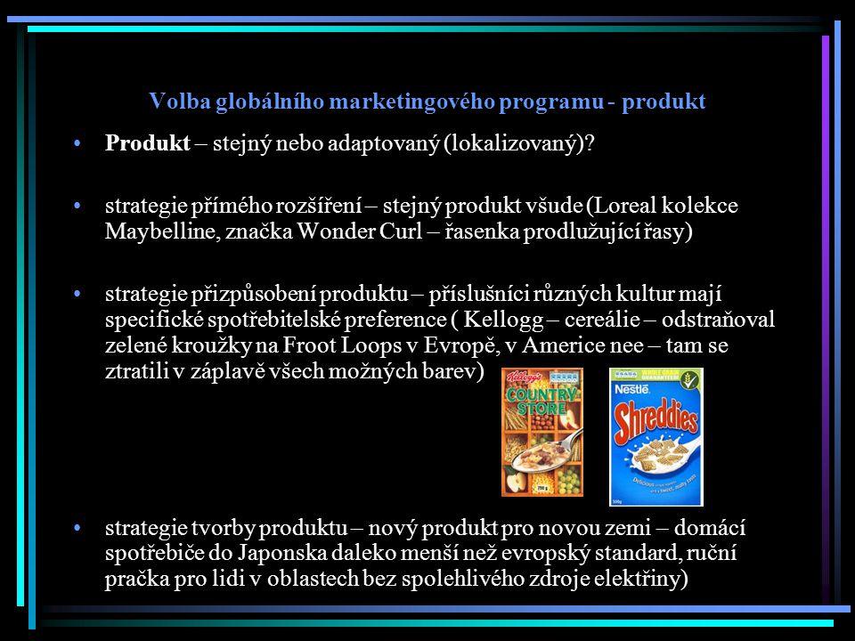 Volba globálního marketingového programu - produkt Produkt – stejný nebo adaptovaný (lokalizovaný)? strategie přímého rozšíření – stejný produkt všude